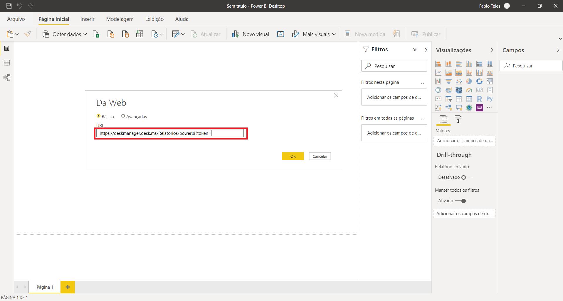 Colar URL   Power BI e Desk Manager
