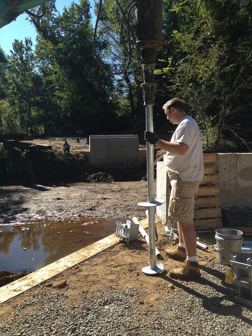 engineer prepares a deep foundation option steel helical pile