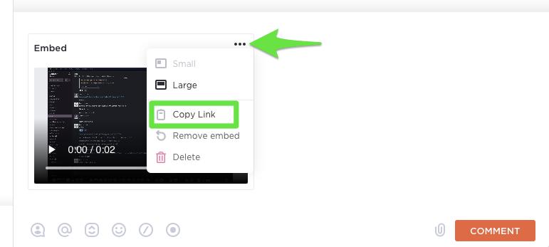 embedding a clickup clip