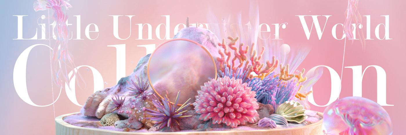 Beautiful,c4d,calm,coral,dream,jellyfish,pastel,surreal,underwater