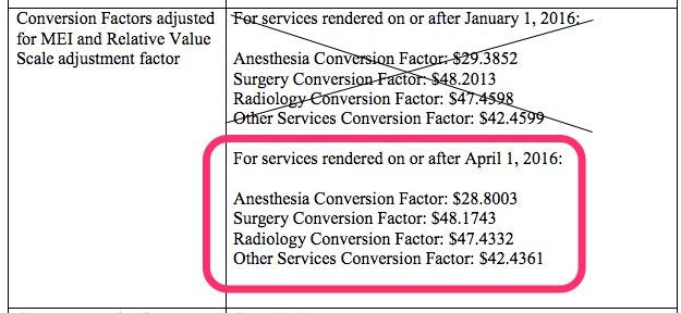 Anesthesia Conversion Factor