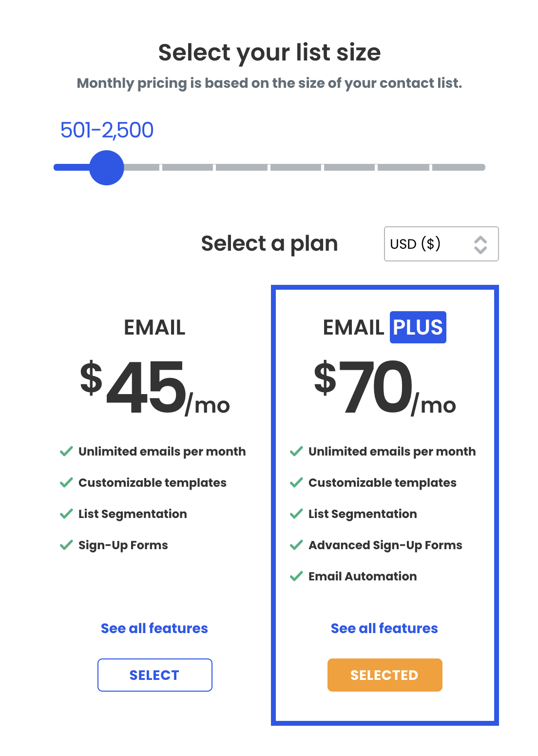 Constant contact list size pricing