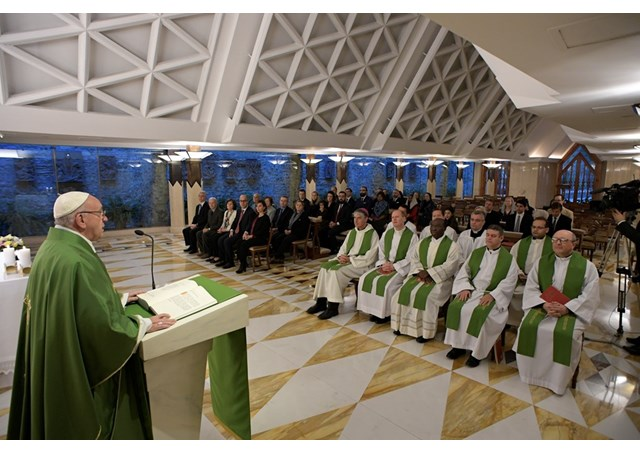 Pope Francis delivers his homily during the morning Mass at the Casa Santa Marta.