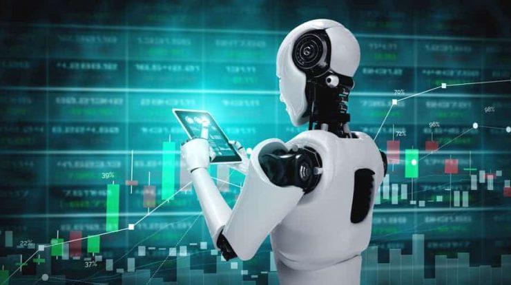 Ilustrasi robot sedang melakukan trading forex