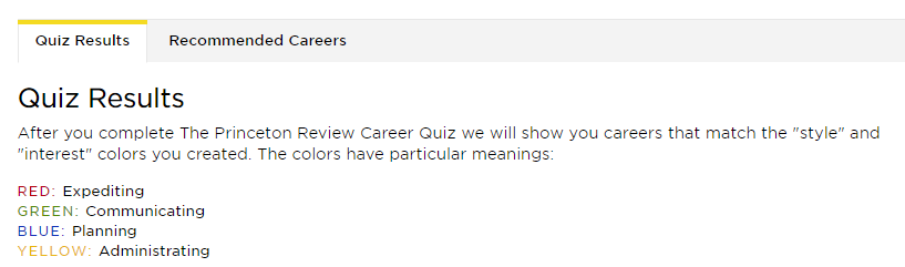 career quiz results