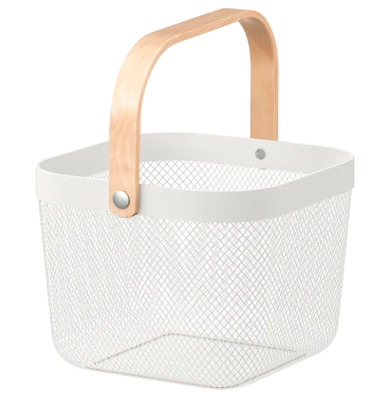 white basket for storing vegetables and fruits