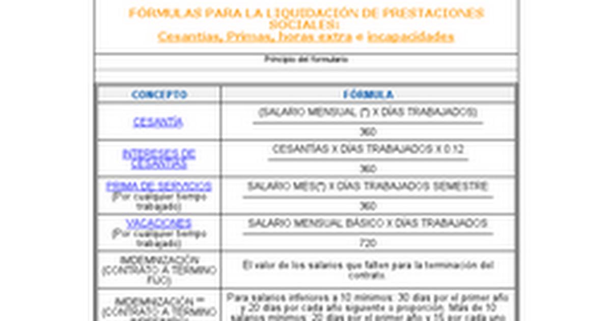 F rmulas para la liquidaci n de prestaciones for Liquidacion de nomina excel 2016