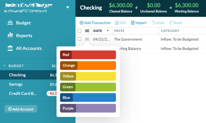 YNAB Quick Tips how to use flags
