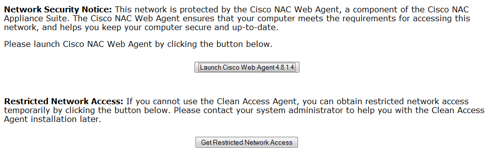 Cisco web agent log-in options