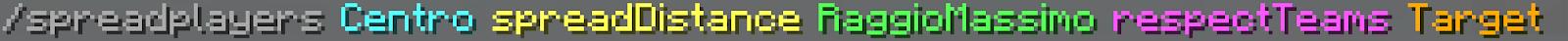 Immagine: parametri del comando Spreadplayers, che nel seguente elenco andiamo a spiegare.