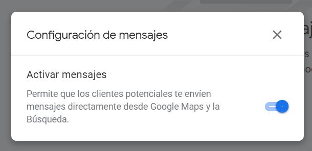 Configuración de mensajes en GMB
