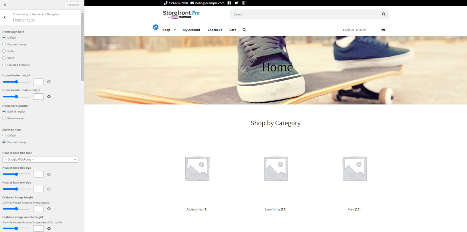 Change WooCommerce header background with Pootlepress
