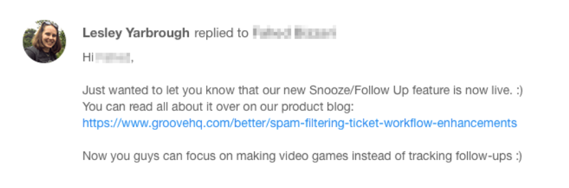 An Email Describing Winback Campaign Idea Example: Send Personalized Product Updates
