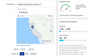 Page showing Facebook targeting options with estimated audience size
