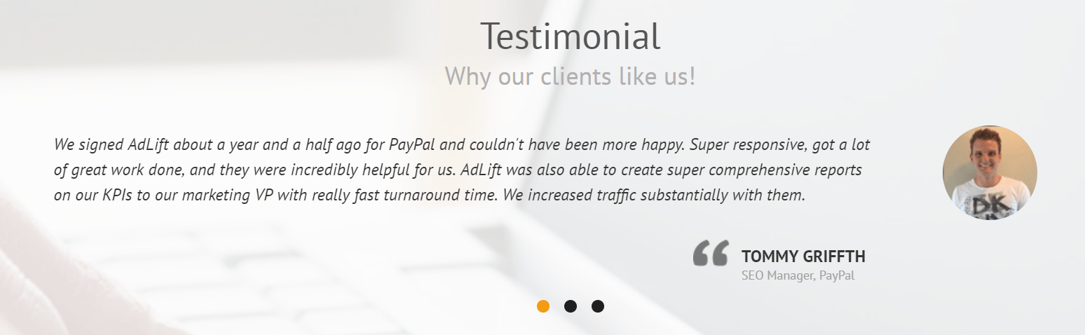 AdLift Customer Testimonial that is less specific on clear results