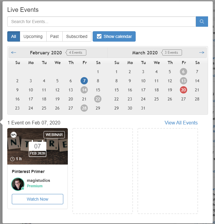 wealthy affiliate live events recorded video lesson
