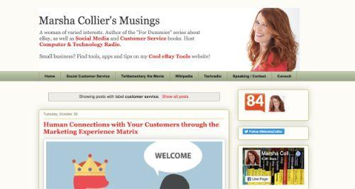 A screenshot of @MarshaCollier's blog