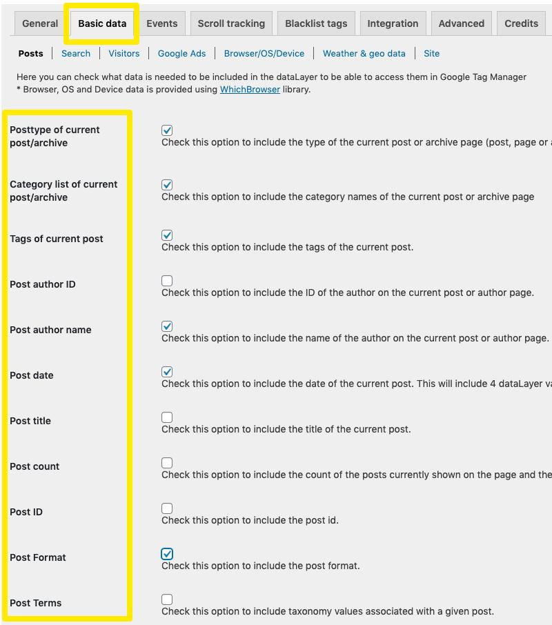 dane w dataLayer z wtyczki GTM for WordPress