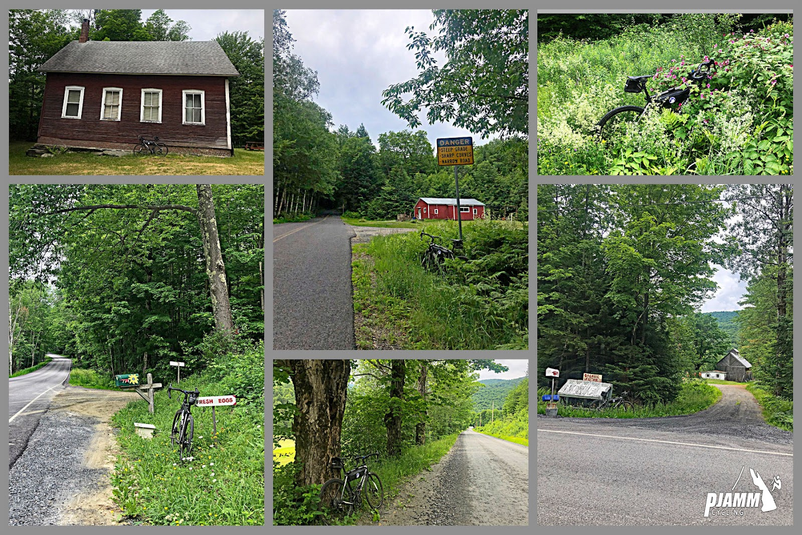 Cycling Lincoln Gap East - photo collage, red wooden building with four white-trimmed windows, bike leaning against building, Danger Sharp Curves yellow road sign along greenery on roadway, bike parked in dense, tall grass with pink flowers