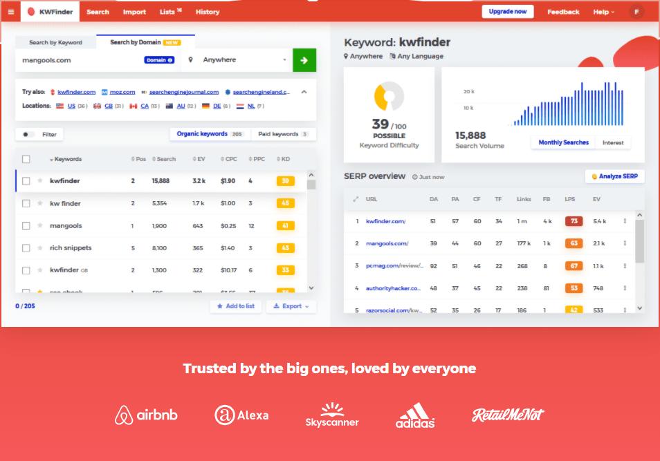 KW Finder Homepage