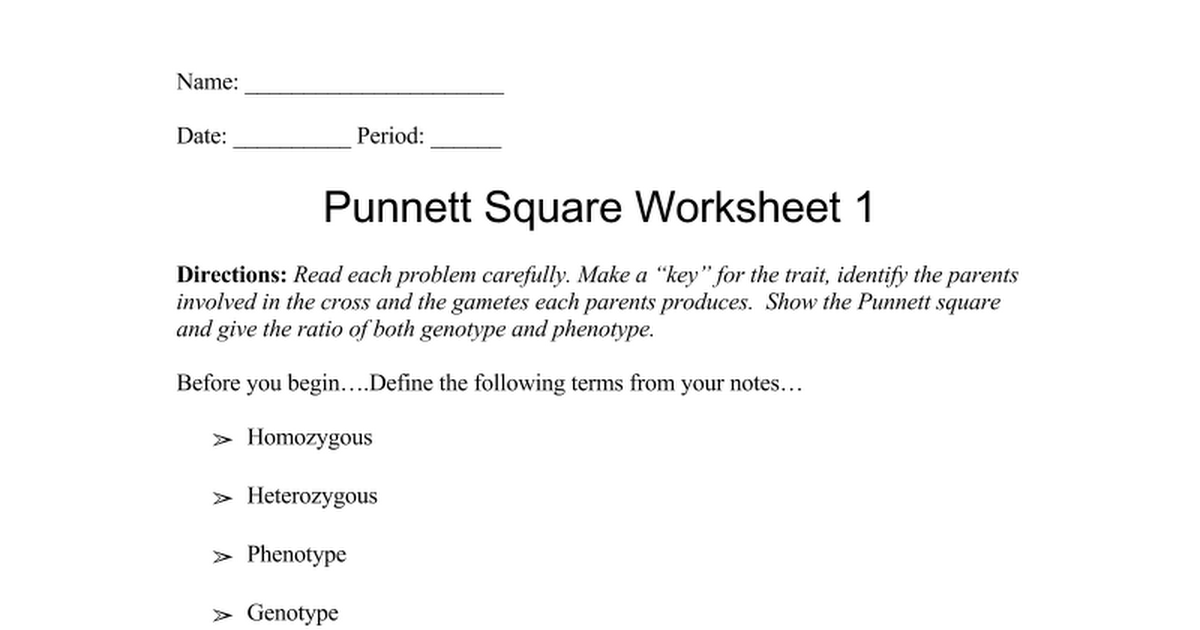 Collection of Punnett Square Worksheet 1 Sharebrowse – Punnet Square Worksheet