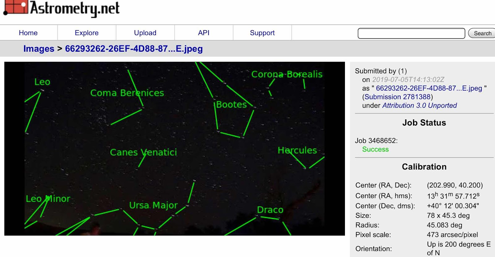 Using Astrometry.net to verify sky located pointed to by the camera (Source: Palmia Observatory)