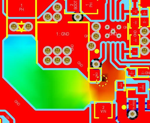 Altium PDN Analyzer simulation showing a PCB with copper colored depending on current density