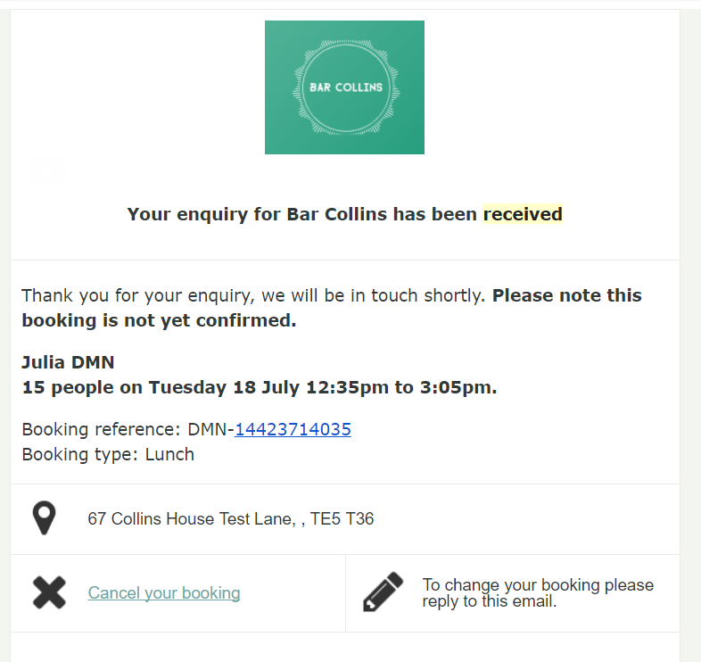 booking types automated email template examples collins customer