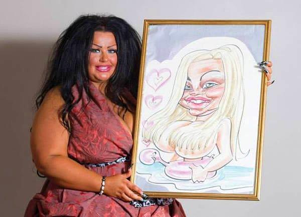 Kendisini 16 yaşında çizdirdiği karikatürüne döndürmeye çalışan kadın..