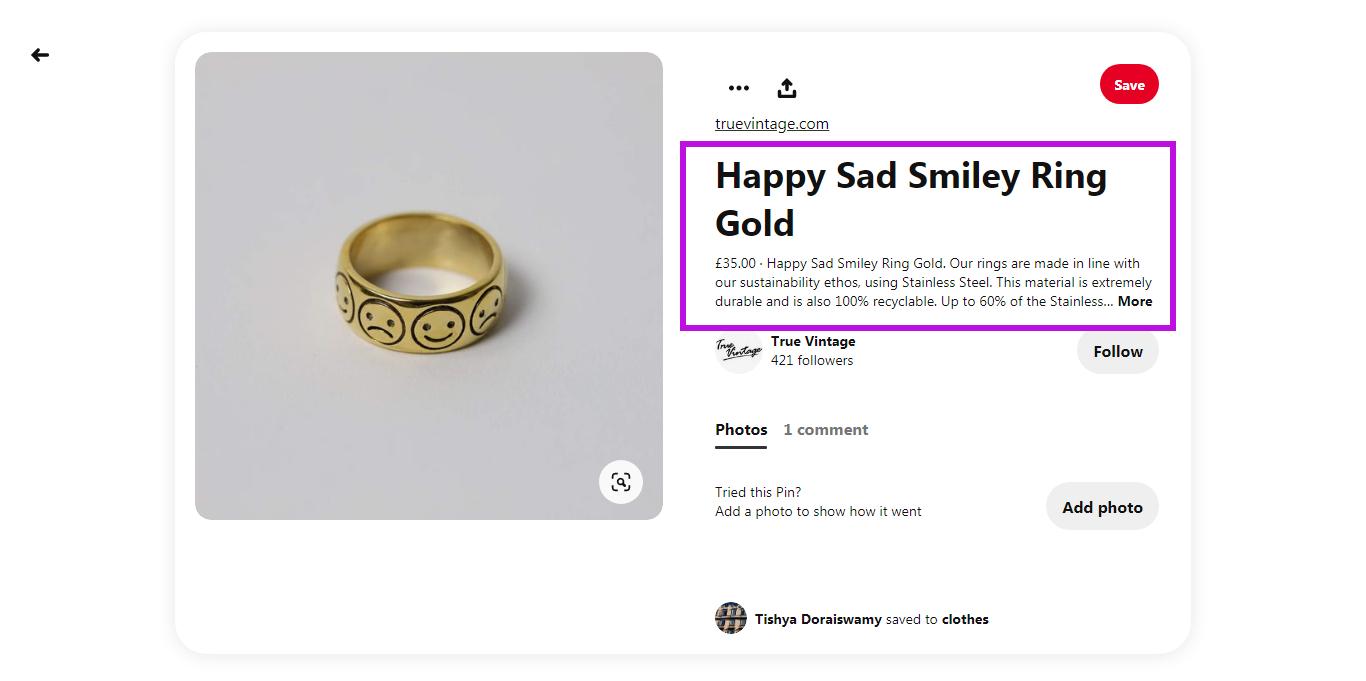 Happy Sad Smiley Ring Gold Pinterest pin