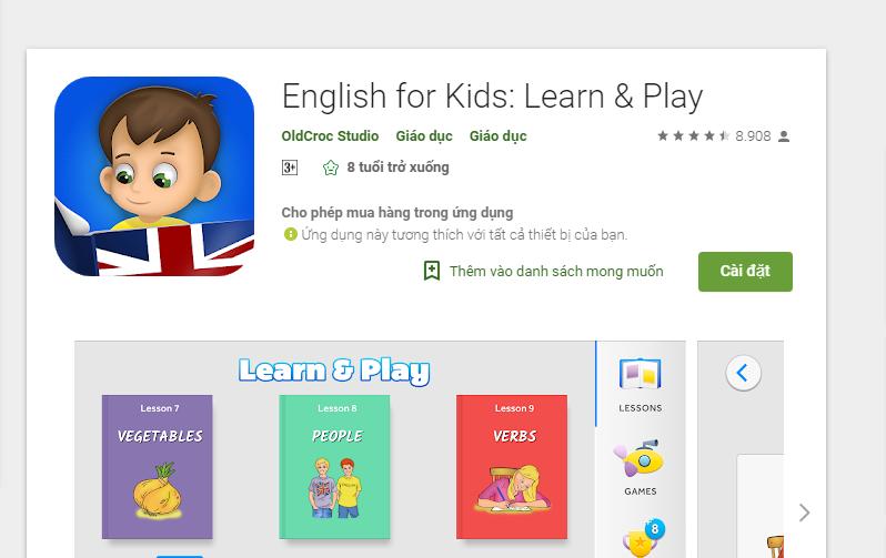 Phần mềm học tiếng Anh miễn phí cho trẻ em