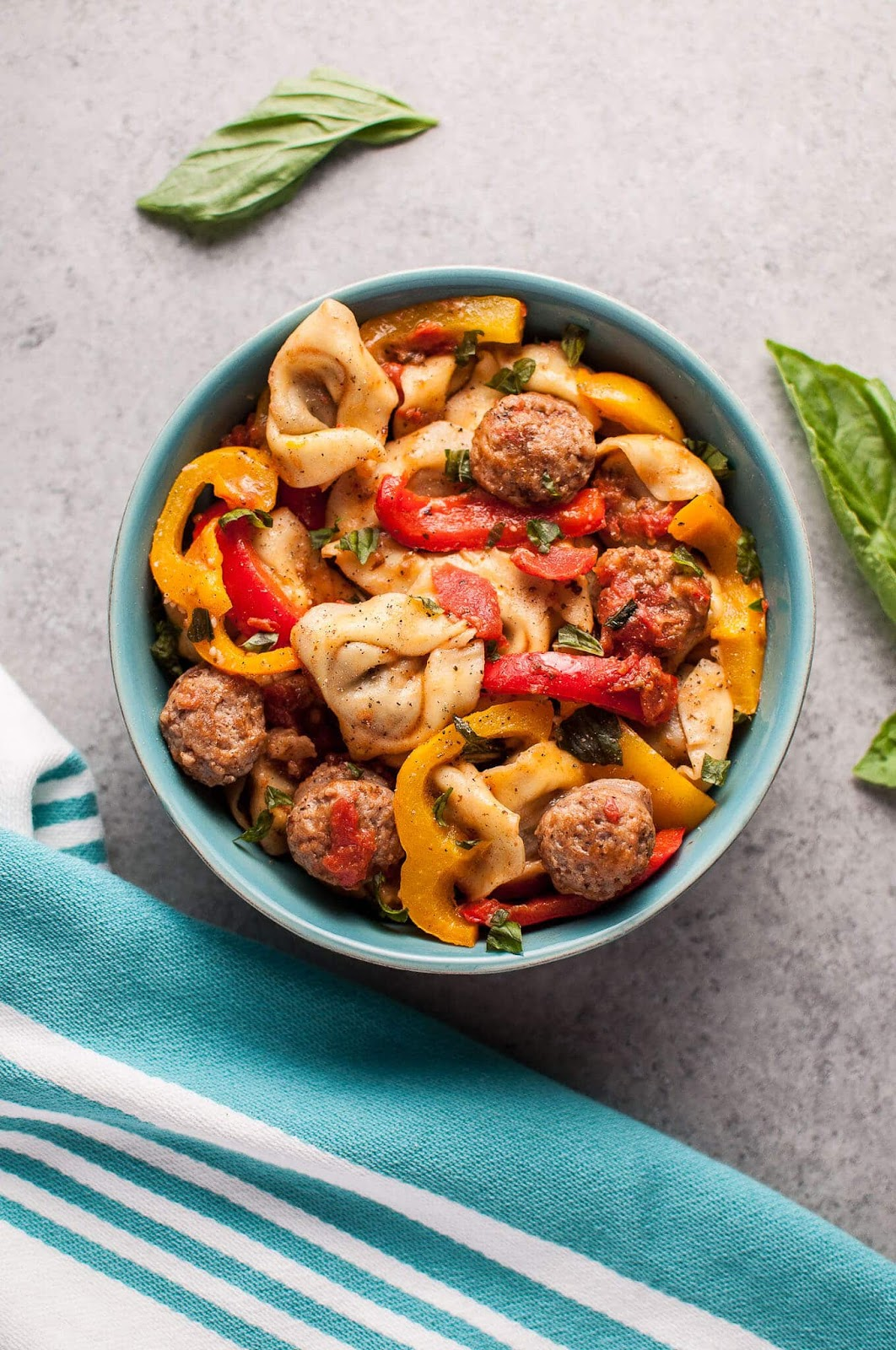 Tortellini with sausage and peppers