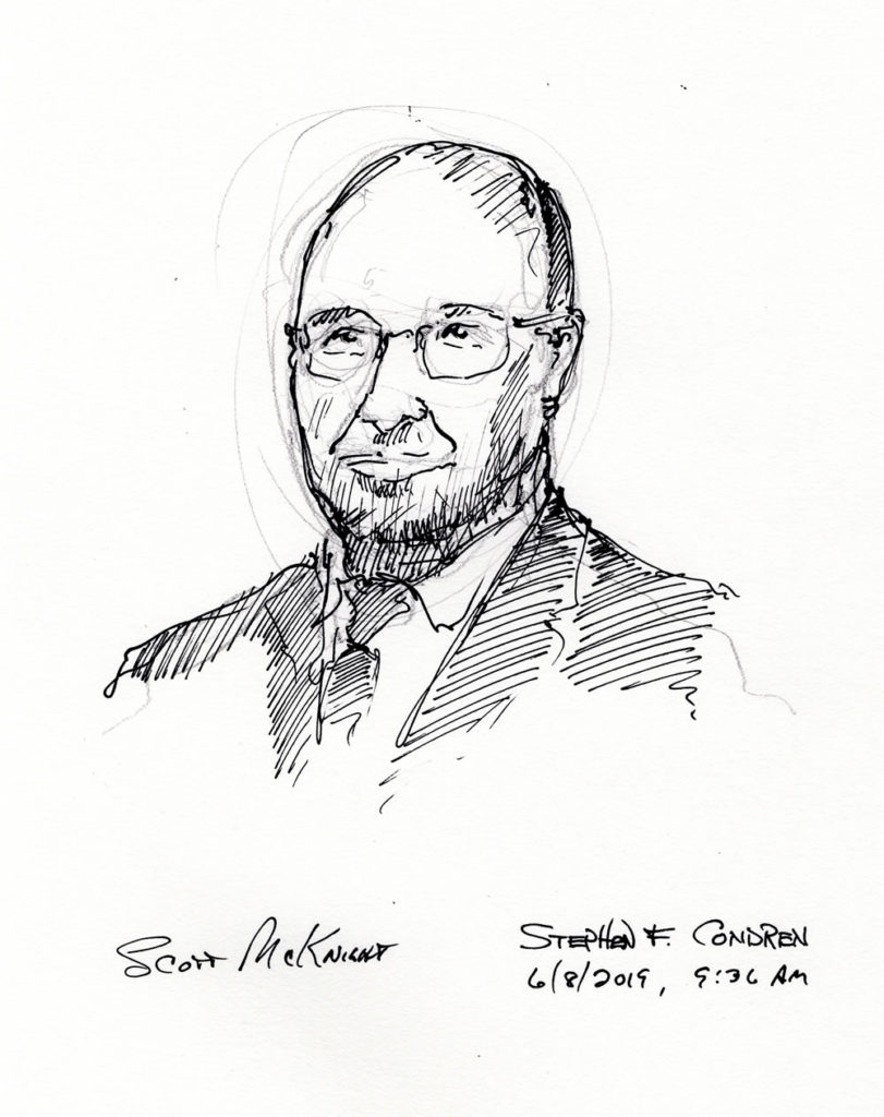 Pen & ink drawing of Professor Scott McKnight.