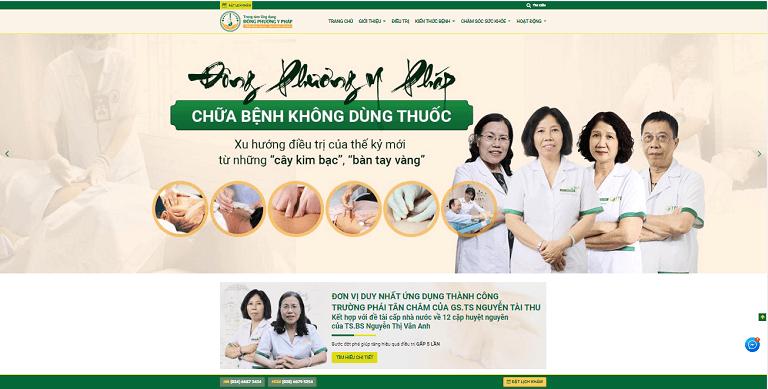 Giao diện trang chủ website Đông phương Y pháp