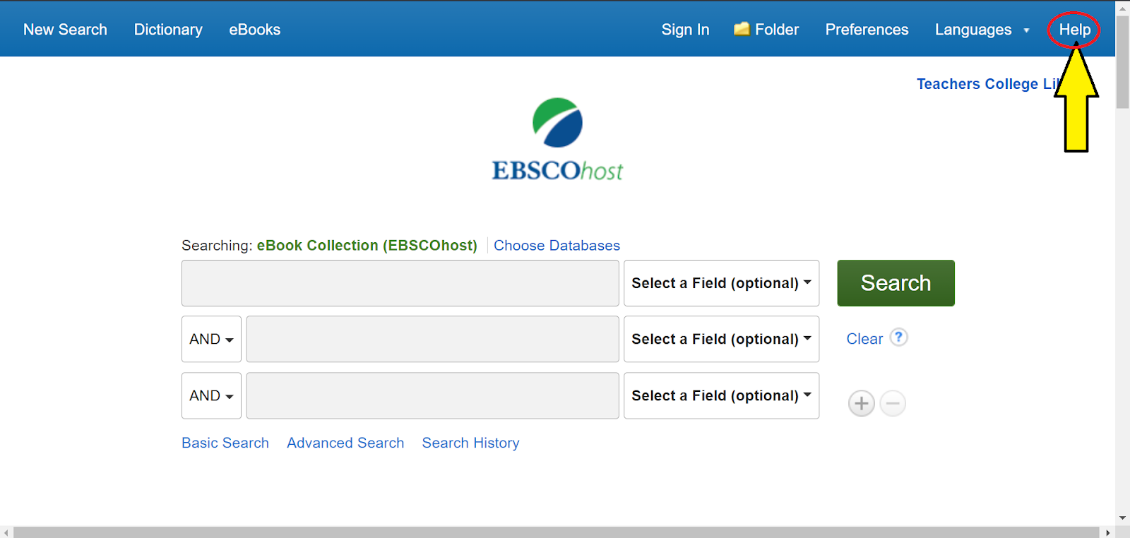 Ebook Collection EBSCOhost homepage.