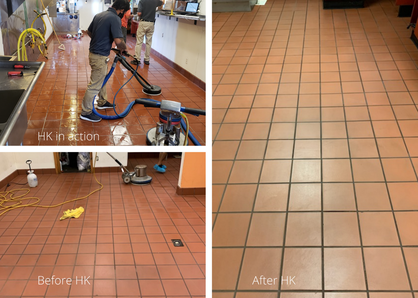 before and after Hammond Knoll cleaned a burger restaurant's floors