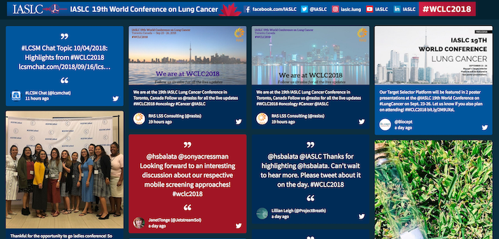 Screenshot of the IASLC social wall. The image shows tweets from attendees discussing the topics of the conference, and pictures of attendees at the event.