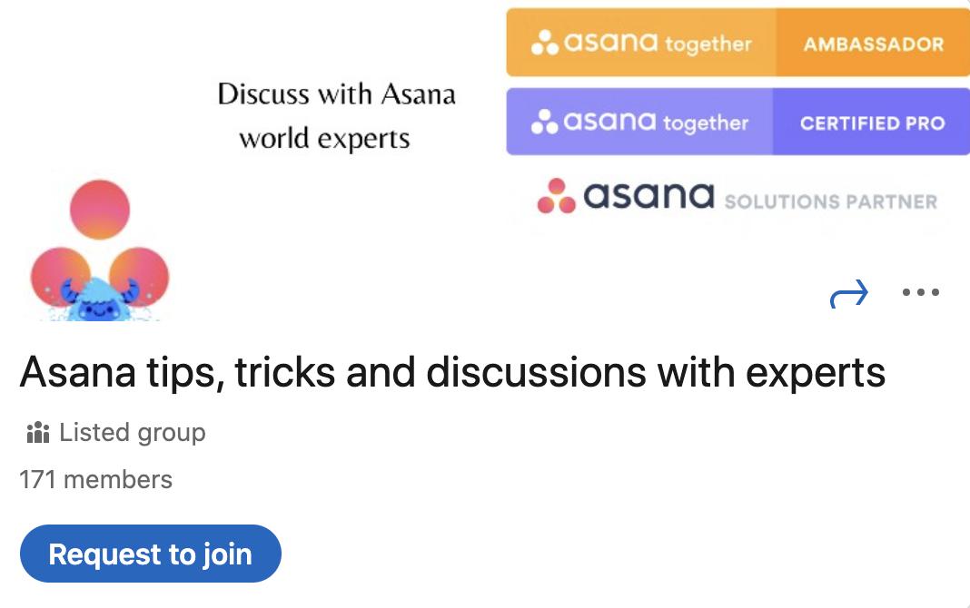 Asana LinkedIn Group