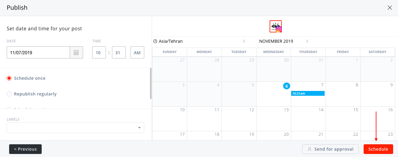 Agorapulse schedule