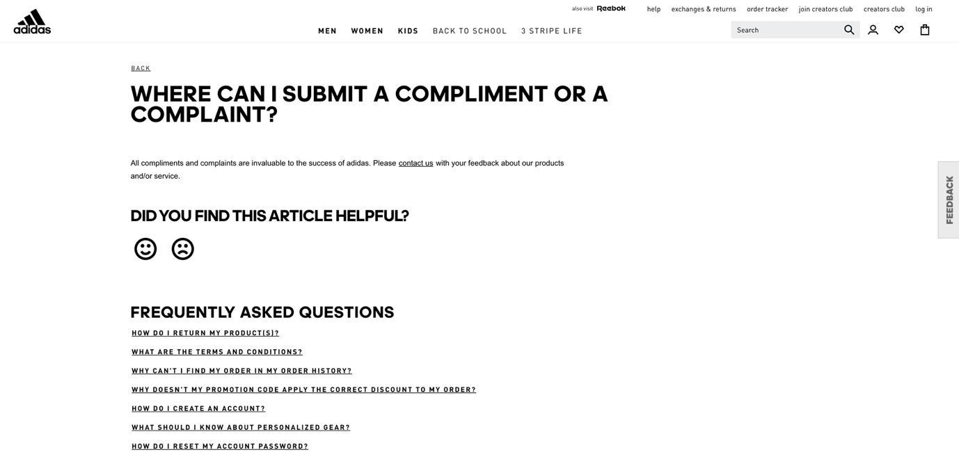 Adidas customer complaints page