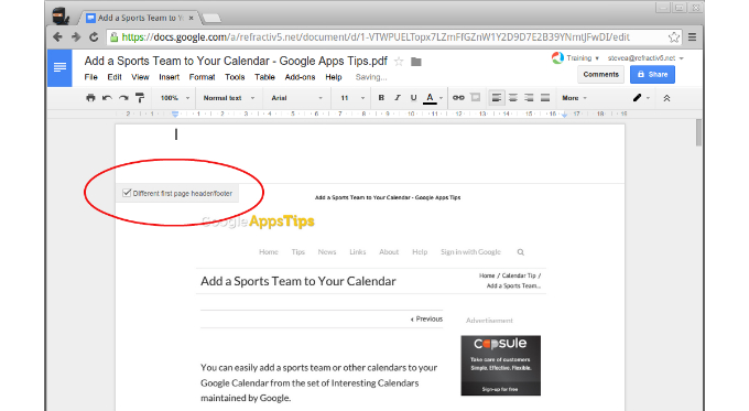 New Custom Headers and Footers in Docs   G Suite Tips