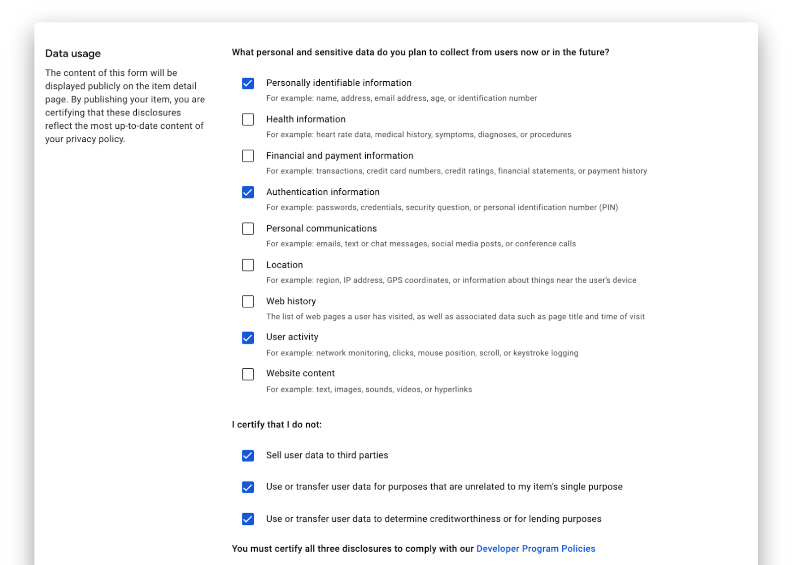 Transparent privacy practices for Chrome Extensions