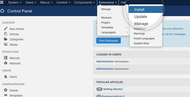 install dashboard (joomla security)