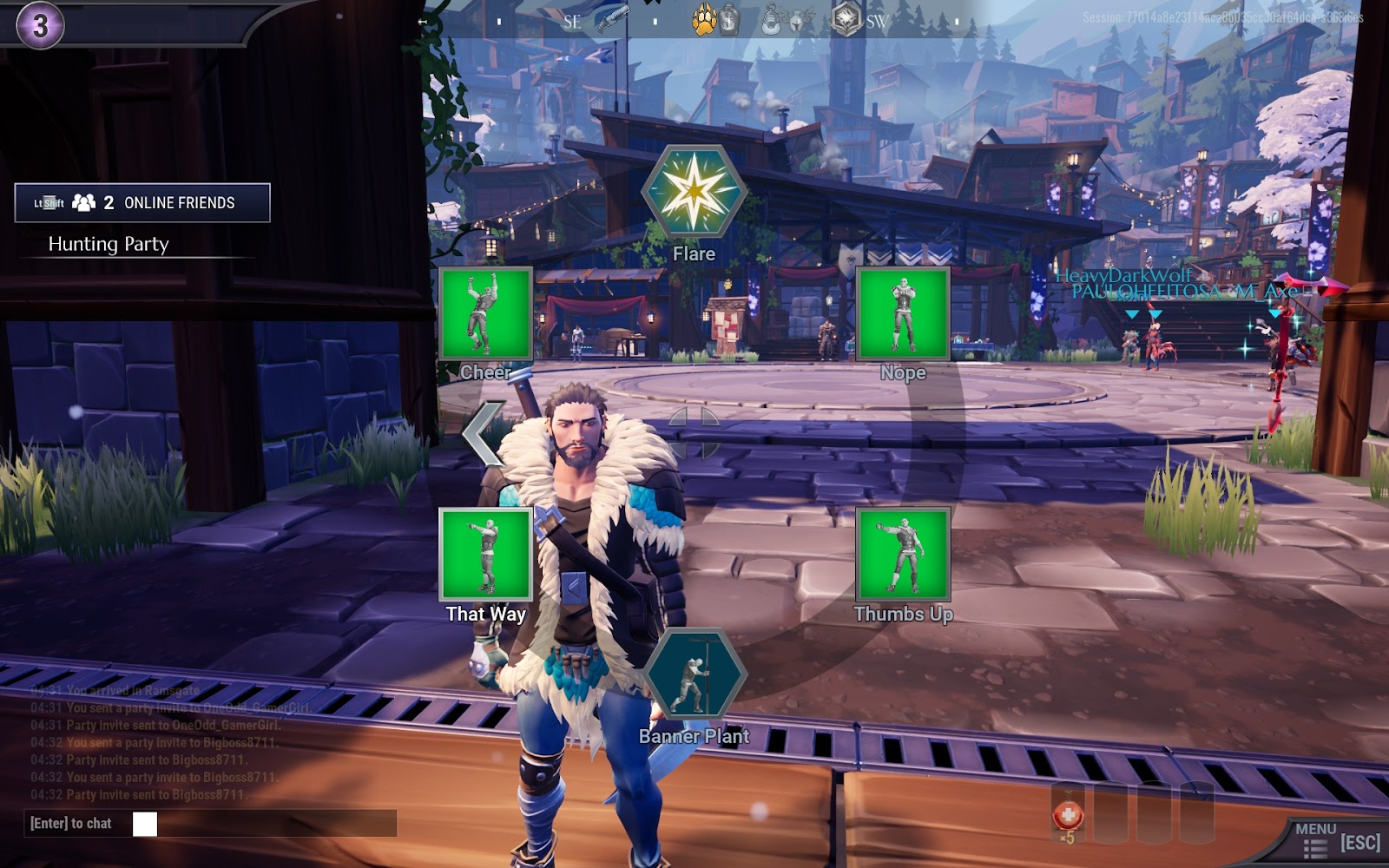The character in the city and the emote wheel displaying six icons.