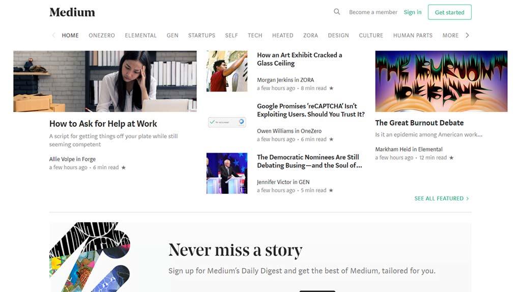 página inicial da plataforma medium