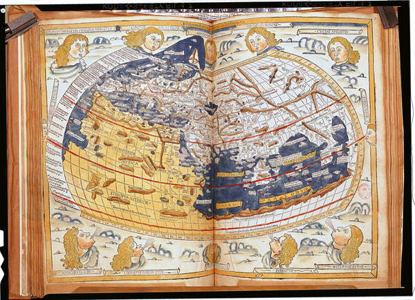 Image of Map of the world, 1486 (coloured engraving), Ptolemy (Claudius Ptolemaeus of Alexandria)(c.90-168)(after) / Greek, Bibliotheque Nationale, Paris, France, © Bridgeman Images