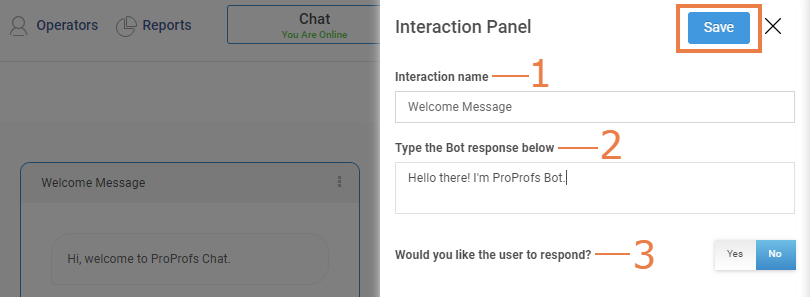 Customize welcome message on ProProfs chatbot