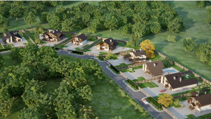 3D визуализация коттеджного поселка | Brok