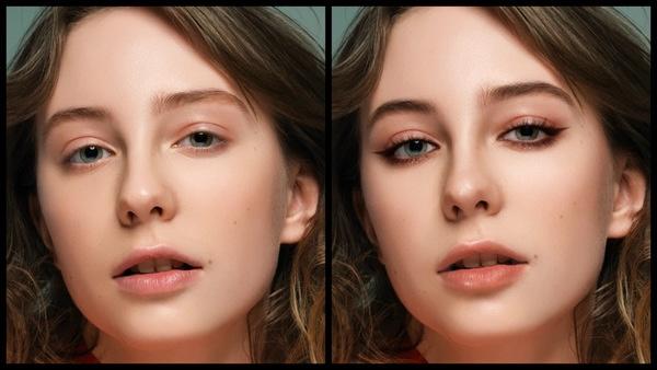 antes e depois da foto de uma mulher branca sendo que uma foi editada com a maquiagem Bare do AirBrush