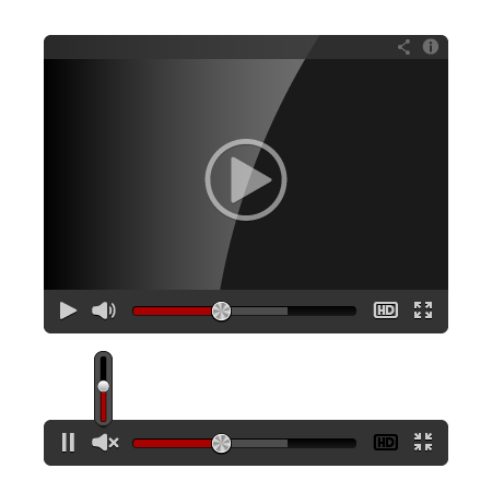 Video Player for Web isolated on white background